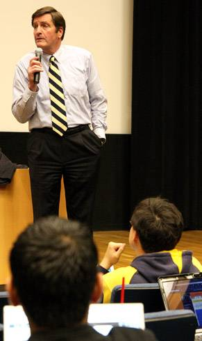 Photo: Lt. Gov. John Garamendi spoke to Political Science 179, advising students to take action through rallies and demonstrations.