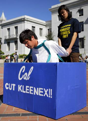 Photo: Travis Wong, a student Greenpeace organizer, protested against  Kimberly-Clark during a demonstration held yesterday afternoon.