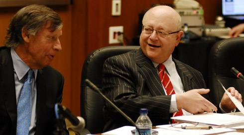 Photo: Board Chairman Richard Blum,  pictured left, speaks with Mark Yudof at the regents meeing in San Francisco on Thursday.