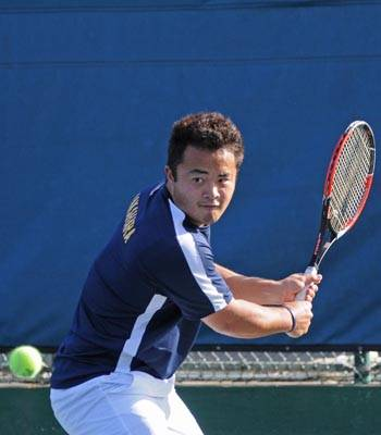 Photo: Senior Ken Nakahara has come out on top in four of his last five singles matches. Nakahara has compiled a 7-3 record on Court Six during the dual season for the Bears.