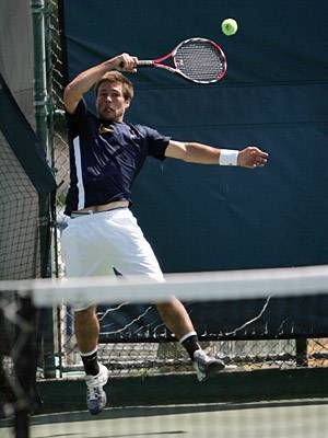 Photo: Pierre Mouillon lost in three sets to Stanford's Richard Wire on Saturday. The senior's match didn't take place until the team score was already settled in favor of the Cardinal.
