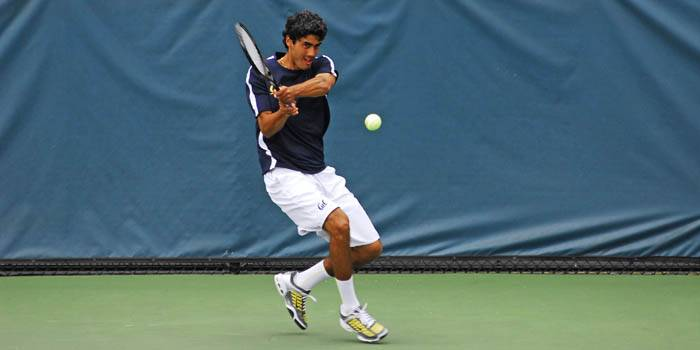 Photo: Sophomore Kallim Stewart finished the dual season as the lone Cal player to carry a national ranking in singles, at No. 110. Stewart was heavily featured on Court One in 2008.