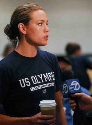 Photo: Natalie Coughlin speaks to various members of print and television media during Team USA's lone open practice.
