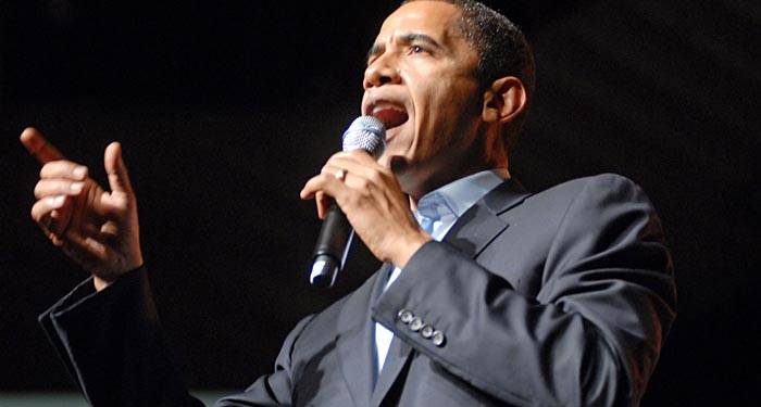 Photo: Barack Obama delivered a speech to a crowd of thousands at Bill Graham Civic Auditorium on November 14, 2007.