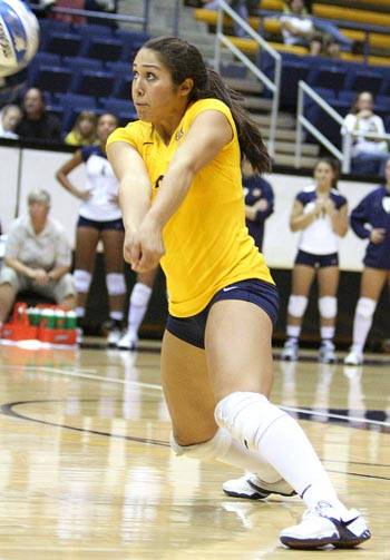 Photo: Junior libero Kristin Kathan will be need to be in top defensive form this weekend against two ranked opponents that both boast large, physical hitters.