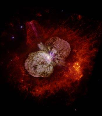 Photo: Eta Carinae, shown surrounded by its expanding nebula of gas and dust, underwent and survived an explosion in 1843 that Smith believes is an indicator of the star's impending death.