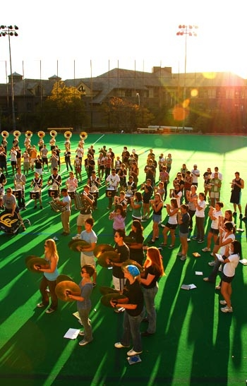 Photo: The University of California Marching Band practices together on Oct. 25. The Cal Band missed their second away game this year last weekend, when the football team played against the University of Arizona.