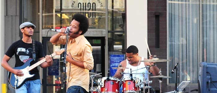 Photo: UPRISING. Oakland-based hip-hop band the Coup, led by Boots Riley and DJ Pam the Funkstress, played a two-hour on-campus show last Thursday.