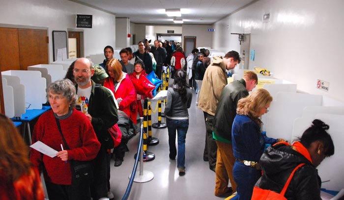 Photo: Voters lined up outside and within the Alameda County Courthouse in order to cast their ballots a day early on Monday, Nov. 3.