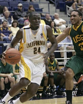 Photo: Cal forward Theo Robertson drives past a Dons defender during the Bears' 87-74 win on Tuesday night. Robertson had 23 points, 19 of which came in the first half.