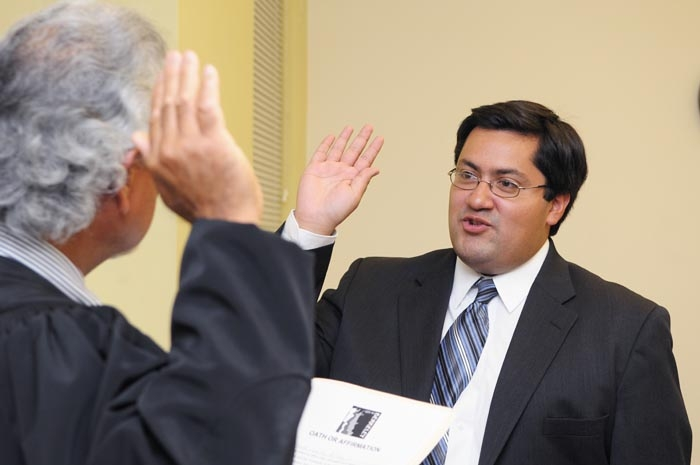 Photo: Jesse Arreguin was sworn in as city council member for District 4 during a short ceremony. Arreguin is the first Hispanic person to be elected to the Berkeley city council.
