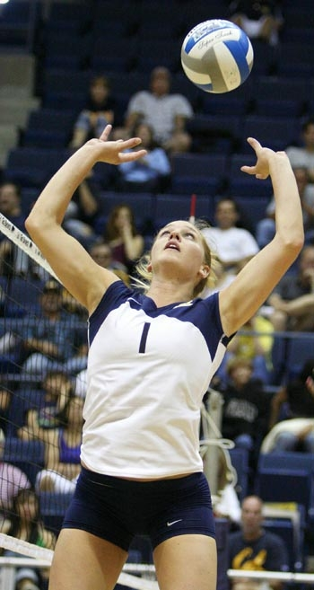 Photo: Cal setter Carli Lloyd, who is currently third in the nation with 12.08 assists per set, was one of six Cal players to garner all-conference honors.