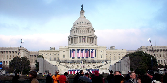 Photo: People gather around the United States Capitol as it is being prepared for Barack Obama's Jan. 20 inauguration.
