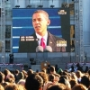 Photo: Thousands gathered on Upper Sproul Plaza to watch a live feed of Barack Obama's inauguration.