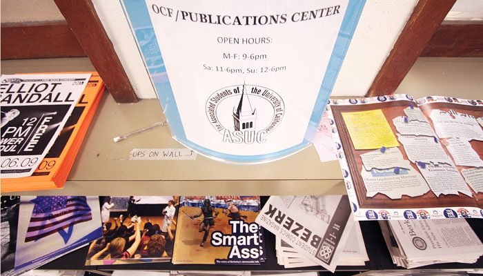 Photo: Various student publications are offered on the shelves located on the ground floor of Eshleman Hall outside the publications center.