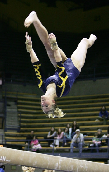 Photo: <b>Senior Joanna Bennett</b> took second in the all-around with a 38.800 in her final meet at Haas Pavilion.