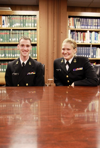 Photo: ROTC seniors Tyler Steed and Vanna Rocchi  received the Armed Forces Health Professions Scholarship, which will help pay their tuition to medical school. After medical school they will serve as navy doctors.