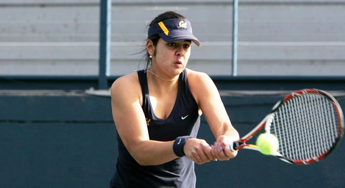 Photo: Jana Juricova was part of Cal's winning doubles effort. Juricova and her partner Mari Andersson clinched the doubles point with a 9-8 triumph over the Cardinal.