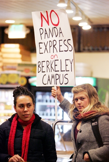 Photo: Students gathered on Thursday to protest the ASUC's contract negotiations with Panda Express. The protest took place during a meeting between company representatives and ASUC officials.