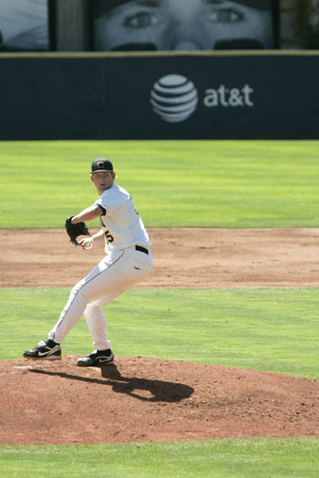 Photo: Erik Johnson pitched eight innings and struck out six on Friday afternoon at Evans Diamond. The Bears won the game, 14-1, and took the series against the Ducks.