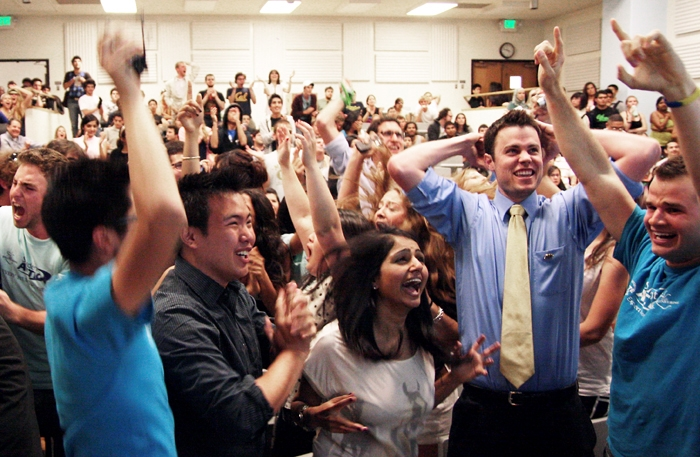Photo: President-elect Will Smelko, second from right, celebrates with Student Action members as the ASUC election results are announced.