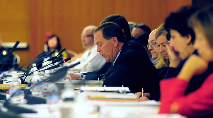Photo: Members of the UC Board of Regents' Committee on Finance voted 11-1 in favor of UC President Mark Yudof's furlough plan.