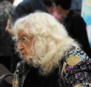 Photo: <b>Mary Rudge</b>, poet laureate of the City of Alameda, has been regularly riding the 51 line for years.  She said that the proposed changes would make her life much harder.