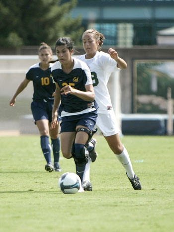 Photo: <b>Camellia Senemar</b> returned to the Cal women's soccer team after suffering an ACL injury while playing for her club squad.