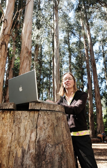 Photo: Jennifer English, here pictured on the UC Berkeley campus, has explored the city of Berkeley and Bay Area hiking trails and has written about her experiences on her blog.
