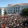 Photo: Students and staff gathered in Upper Sproul Plaza in the thousands to protest budget cuts as part of a UC systemwide walkout. Thursday afternoon's events came after a teach-in held in Wheeler Auditorium Wednesday night.