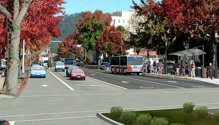 Photo: The Bus Rapid Transit Project, from which funds may be diverted, proposes creating a bus-only lane from Berkeley to San Leandro. Shown is a rendition of how the lane would look.