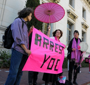 Photo: Protesters seeking the firing of Boalt Hall School of Law professor John Yoo demonstrated on campus Wednesday.