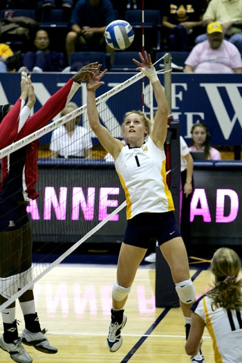 Photo: <b>Setter Carli Lloyd</b> had 59 assists against Arizona and 38 against Arizona State, playing a big part in the Bears' sweep last weekend. Lloyd is now averaging 11.21 assists per set.