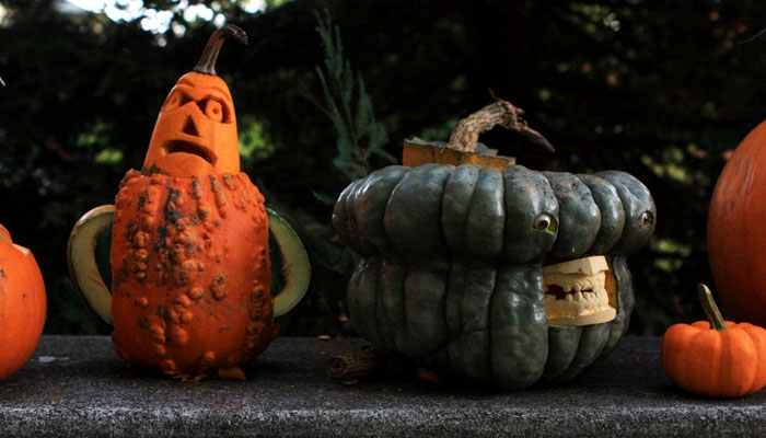 Photo: Dan Shapiro's distinctive pumpkins were one of the many attractions on Russell Street, Berkeley's premier trick-or-treating destination.