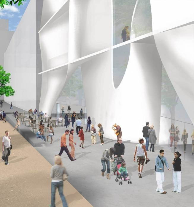 Photo: <b>An artist's rendering of Toyo Ito's design for the new location of the Berkeley Art Museum</b> gives a hint of the complexity of the plan, which was dropped by the museum due to its projected cost.