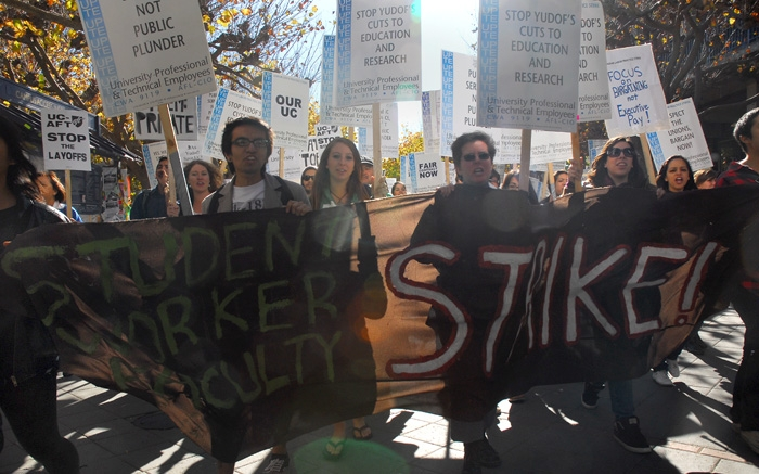 Photo: UC workers, faculty and students protested the expected tuition hikes and budget cuts across the university system.