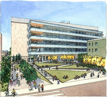 Photo: The Helios Energy Research rises above Downtown Berkeley in this artist's sketch. The UC Regents approved construction of the five-story facility on Tuesday.