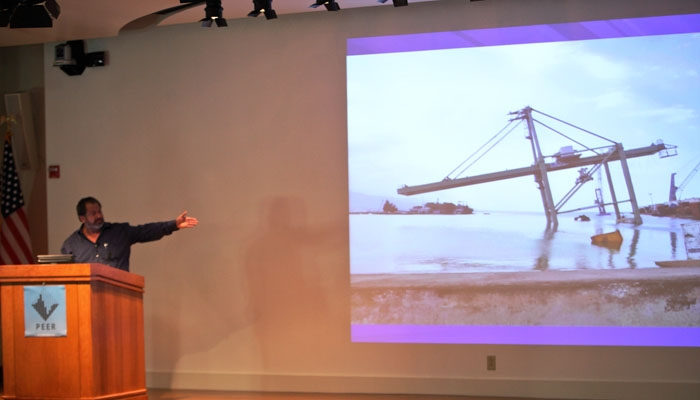 Photo: Eduardo Fierro gave a presentation detailing his experiences in the aftermath of the Haitian earthquake Tuesday. He attributed the structural damage to a lack of architectural education.