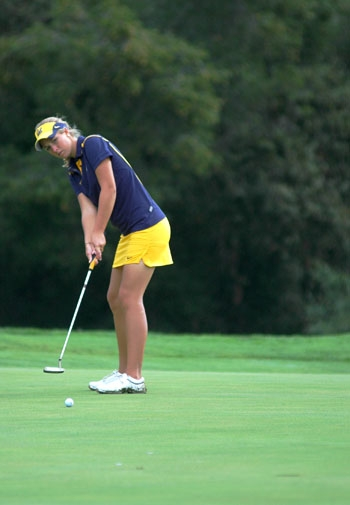 Photo: <b>Junior Pia Halbig</b> will likely be Cal's top individual golfer this spring. Halbig enters the 2010 season ranked 28th in the nation.