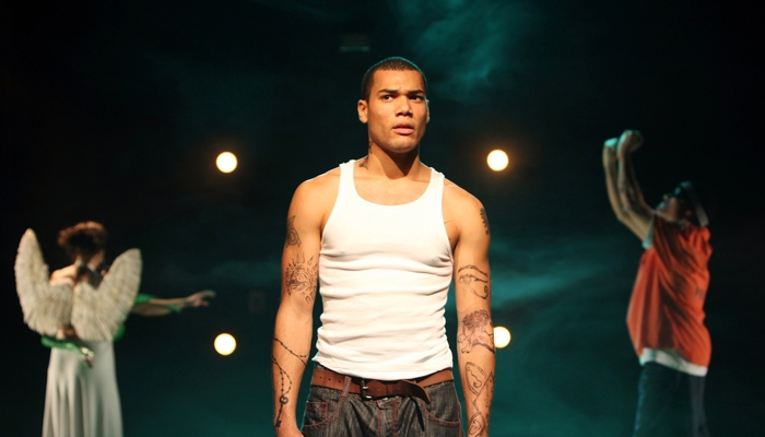 Photo: <b>Tragedy in Spanglish.</b> Luis Alfaro's confrontational adaptation of Sophocles's 'Oedipus Rex,' now playing at Magic Theatre, relocates the action to gritty modern Los Angeles.