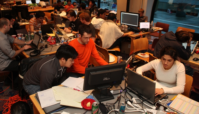 Photo: <b>Participants</b> in the Hackathon wrote original computer programs to be judged at the end of the 18-hour-long competition in Soda Hall.