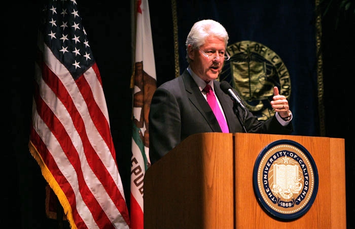 Photo: Former President Bill Clinton addressed students, faculty and staff in Zellerbach Hall Wednesday. His speech focused on poverty and global citizenship in an interdependent world.