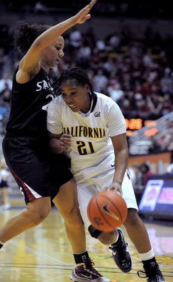 Photo: <b>Alexis Gray-Lawson</b> led the Bears with 15 points in her final regular season game at Haas Pavilion. With Saturday's loss, Cal finishes fourth in the Pac-10 and will play Arizona State on Friday.