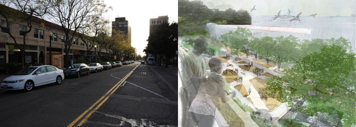 Photo: The Berkeley City Council endorsed a proposed conceptual design for Strawberry Creek Plaza on Center Street that will resurface the creek from its underground culvert and create a pedestrian passageway that will be blocked off from vehicles. The image on the left shows what the area looks like currently, while the image on the right is a proposed conceptual design.