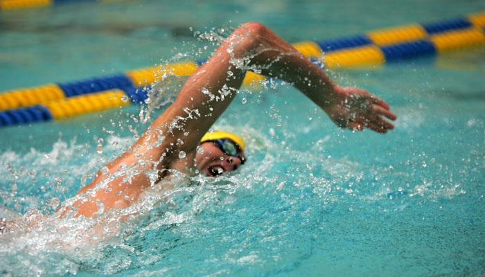 Photo: <b>Junior Nathan Adrian</b> retained his 100-yard freestyle title on Sunday. All told, the Bears took home seven individual titles at the NCAAs.