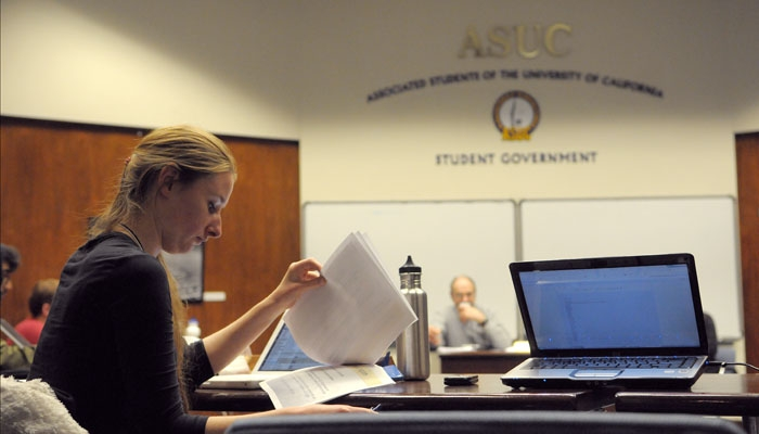 Photo: ASUC Senator Christina Oatfield attended Wednesday's meeting, where after more than two hours of closed session, senators failed to reach an agreement regarding the divestment bill.
