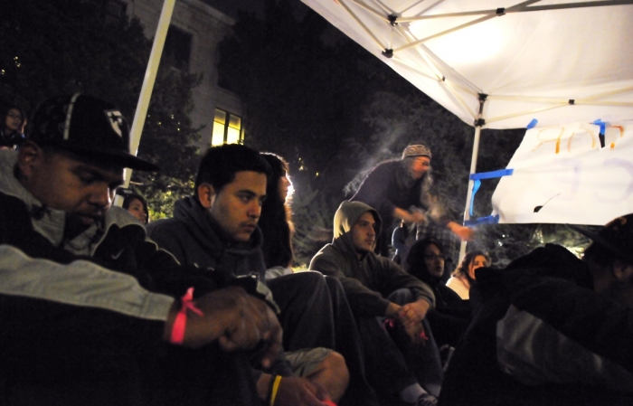 Photo: Protesters sit outside California Hall as a part of a hunger strike that began Monday evening.