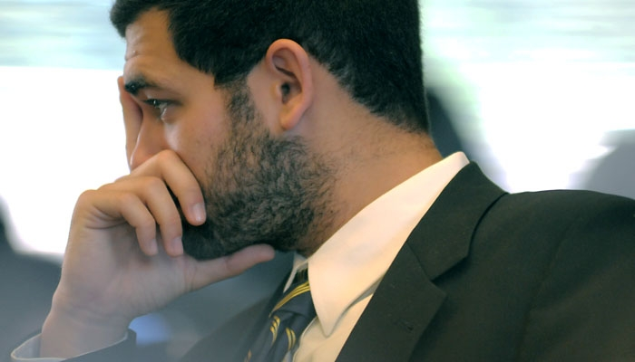 Photo: ASUC President-elect Noah Stern listens to pre-oral arguments during his Judicial Council hearing.