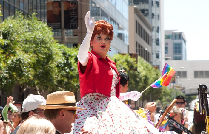 Photo: Out and about. The San Francisco Pride Celebration turned 'Forty and Fabulous' this year, with the festivities grounded by the ongoing struggle for marriage rights.