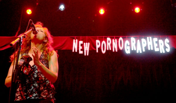 Photo: Porn star. A bevy of technical difficulties marred the New Pornographers' Sunday performance, sending fans for a cold shower.